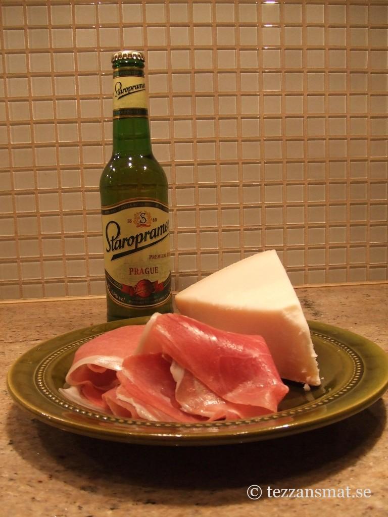 Skinka, ost och öl