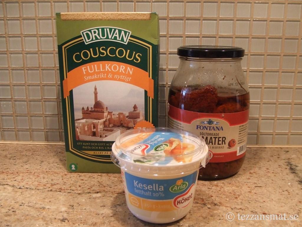 Couscous, soltorkade tomater och kesella